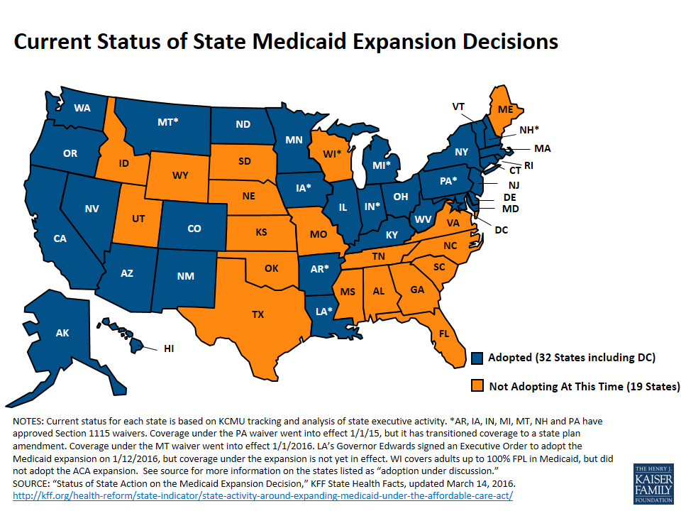 Map of US showing Medicaid Expansion status