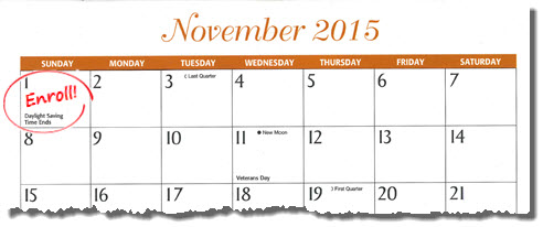 Calendar showing November 1 circled with the word Enroll!