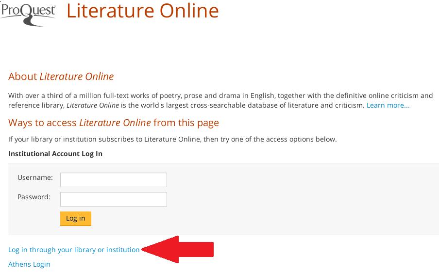 ProQuest Literature Online search screen