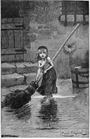 Young Cosette sweeping: 1886 engraving for Victor Hugo's Les Miserables.
