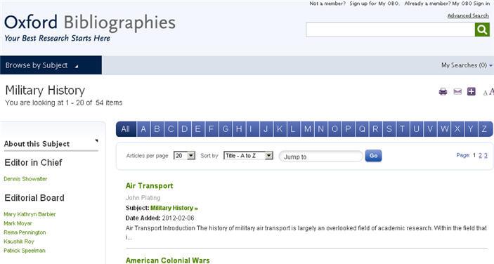 Oxford Bibliographies alphabetical list
