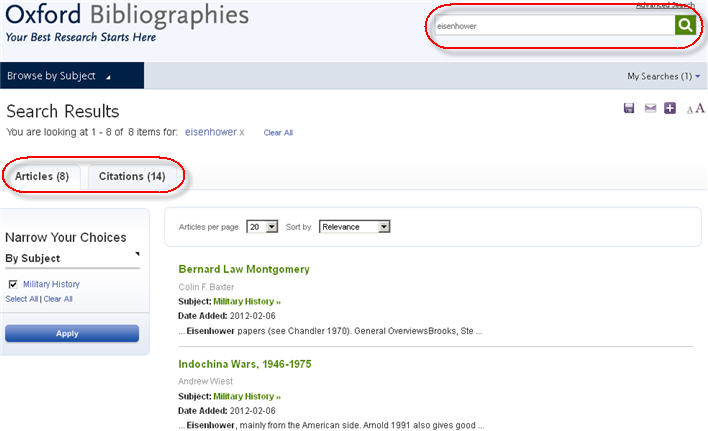 Oxford Bibliographies search results