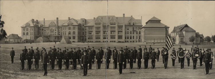 Item 8: Cadet Corps behind the Administration Building (now College Hall), 1907
