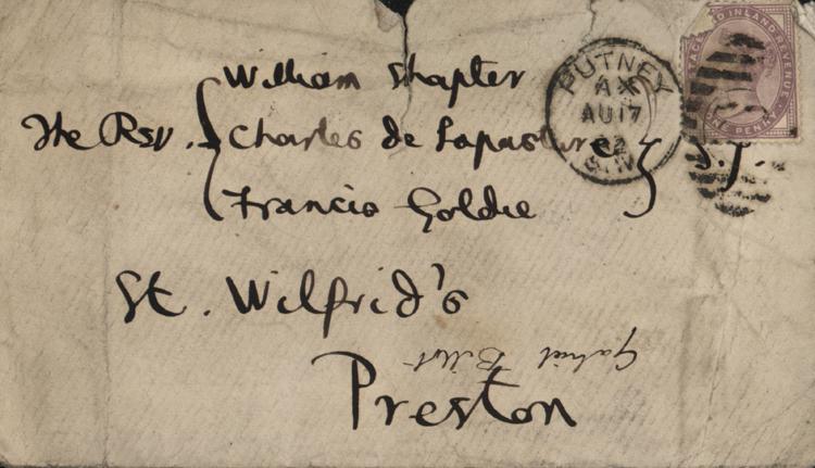 Envelope of Autograph letter to Jesuit friends, 17 August 1882