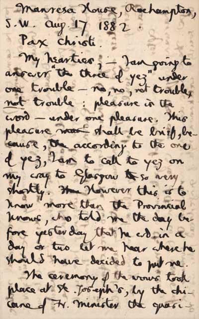 1/6 Autograph letter to Jesuit friends, 17 August 1882