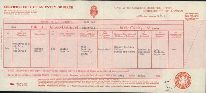 Hopkins's birth certificate