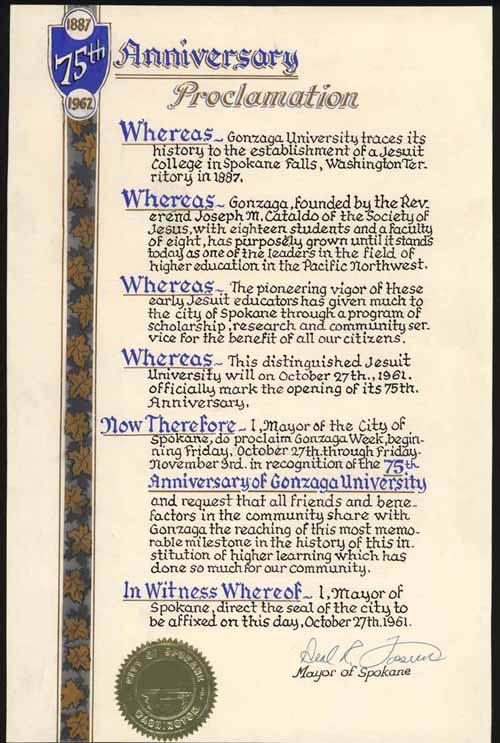 Item 81: 75th Anniversary Proclamation, October 27, 1961