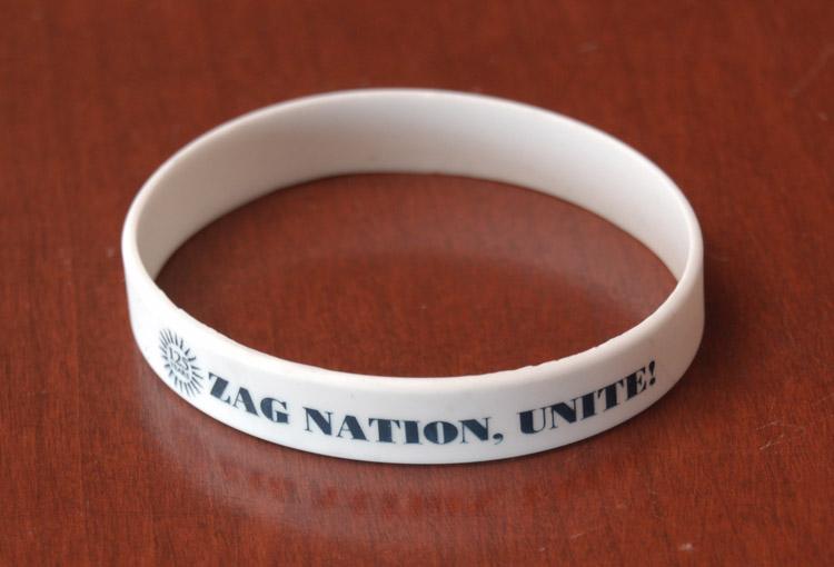 """Item 86: """"Zag Nation Unite"""" Wristband, 2012 – 2013"""