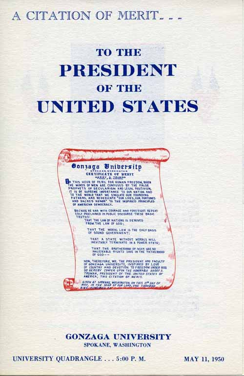 Item 89: A Citation of Merit…To the President of the United States, Program, May 11, 1950