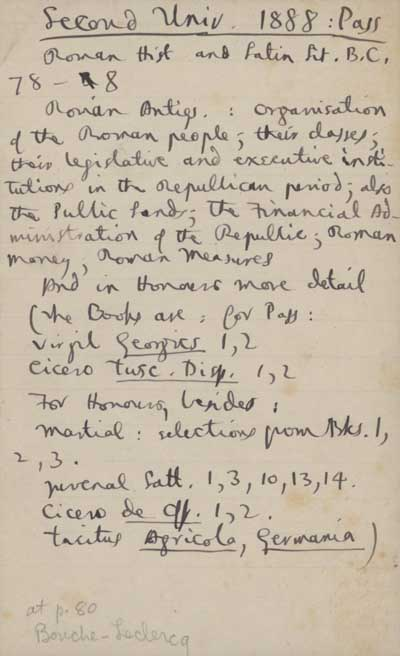 1/2 Examination notes: fragments in ink of questions that Hopkins set for B.A. Pass exam, University College, Dublin, 1888