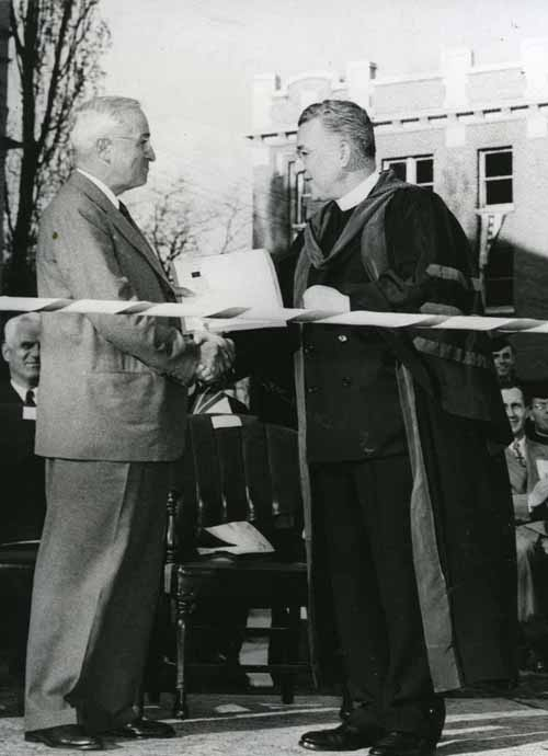 Item 90: President Harry S.Truman and Gonzaga President Frank Corkery, SJ Shaking Hands during Citation of Merit Ceremony, May 11, 1950