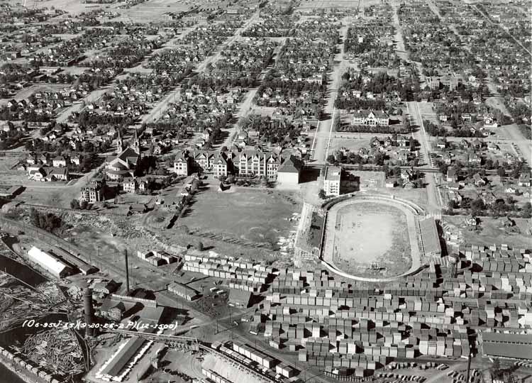 Item 105: Aerial View of Campus with Football Stadium, 1920s