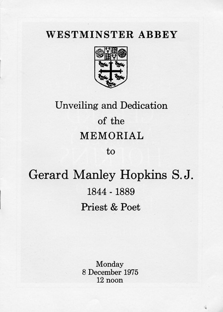 part 1/2: Program for the dedication of the Hopkins memorial inm Poets' Corner, Westminister Abbey, London, 1975 (BRC 37:19)
