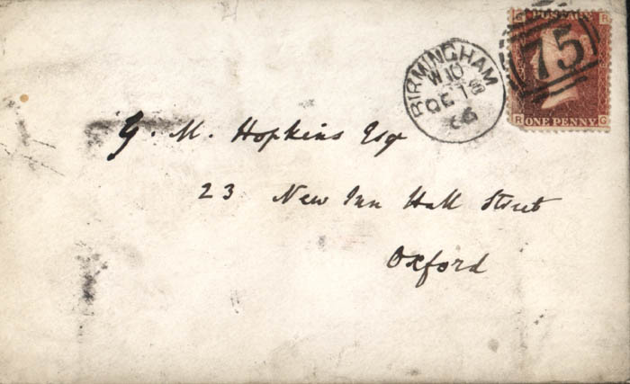 Envelope: Letter from Newman to Hopkins, 18 October 1866 (BRC 1:46)