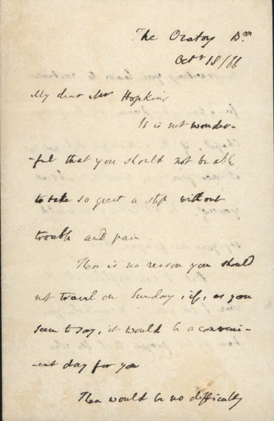 Letter, part 1/3: Letter from Newman to Hopkins, 18 October 1866 (BRC 1:46)