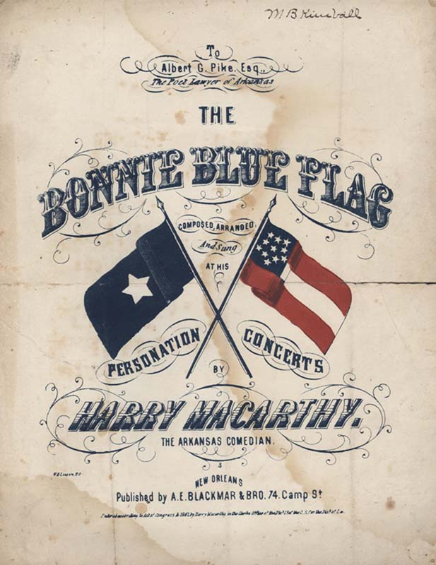 "Macarthy, Harry. ""The Bonnie Blue Flag"". A. E. Blackmar & Bro. 1861. (HW-02510)"