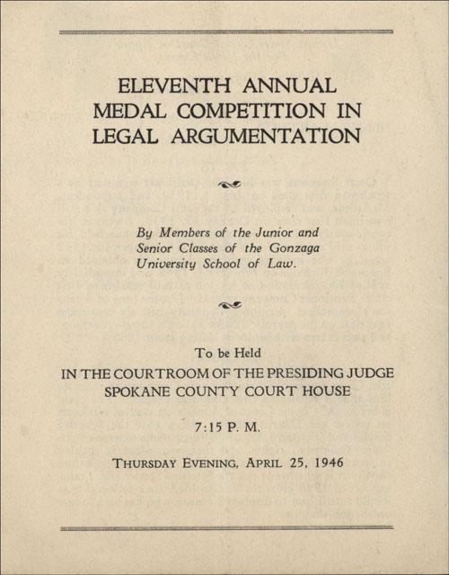 Eleventh Annual Medal Competition in Legal Argumentation, Program, April 25, 1946