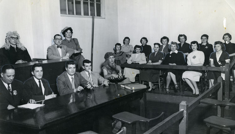 Students Participating in a Mock Trial, 1950s