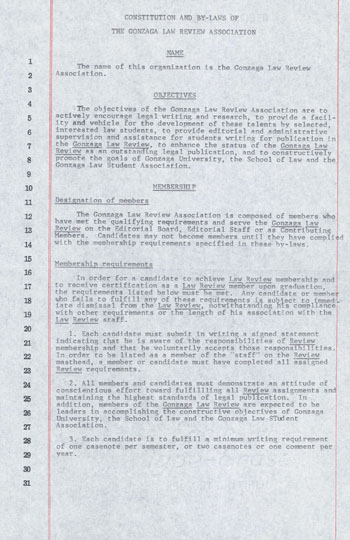 """part 1/3: """"Constitution and By-Laws of the Gonzaga Law Review Association"""", May, 1966"""