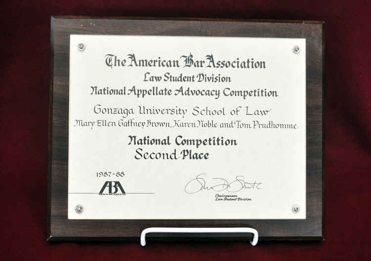 The American Bar Association, Law Student Division, National Appellate Advocacy Competition, 2nd Place, National Competition, 1987 – 1988