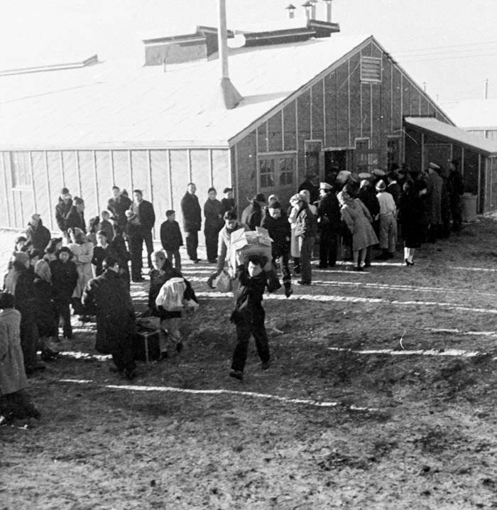 Segregees arriving at Tule Lake Relocation Camp, 1943.