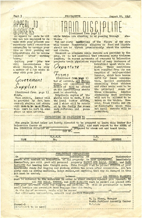 Page 3/4: The Evacuazette, a publication of internees at the Portland Relocation Center, 1942