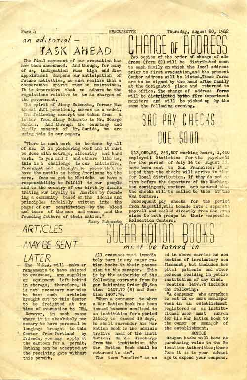 Page 4/4: The Evacuazette, a publication of internees at the Portland Relocation Center, 1942