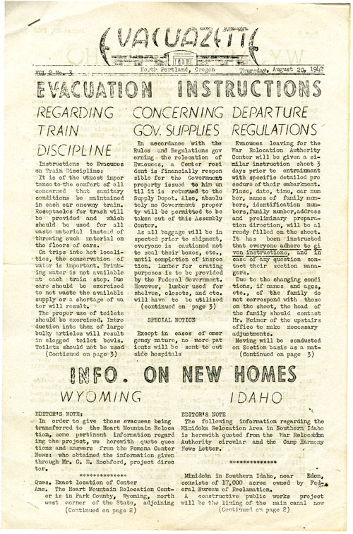 Page 1/4: The Evacuazette, a publication of internees at the Portland Relocation Center, 1942