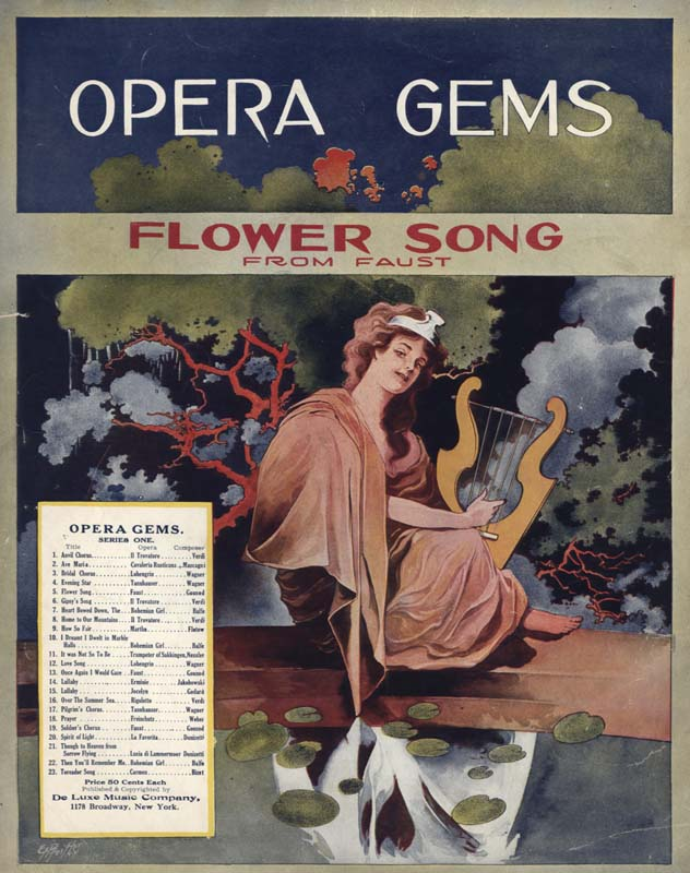 "Gounod, Charles. ""Flower Song: From Faust"". Illus. E. H. Pfeiffer. New York: De Luxe Music Co. 1910. (HW-01263)"
