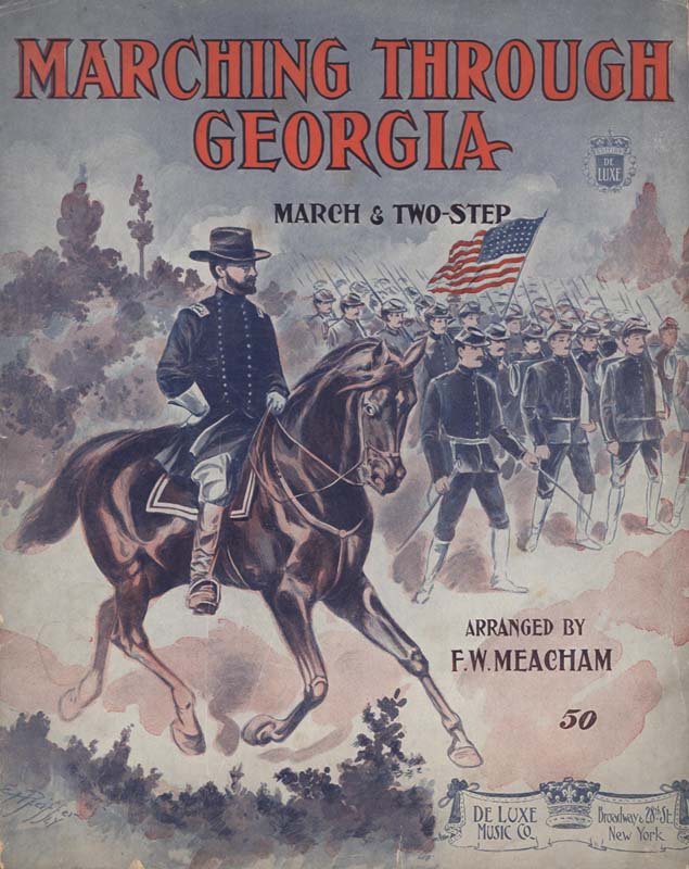 "Work, Henry Clay. ""Marching Through Georgia: March & Two-Step"". Arrange. F. W. Meacham. Illus. E. H. Pfeiffer. New York: De Luxe Music Co. 1908. (HW-02649)"