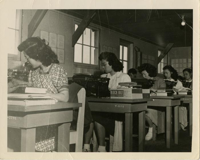 Typing class, Minidoka Internment Camp (Idaho), c. 194