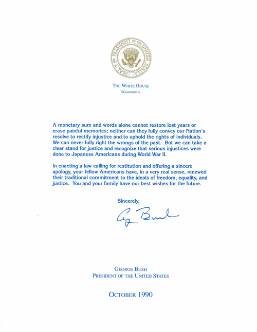 Letter from President George H. W. Bush to Margaret Yamaura Ueda Family, October 1990