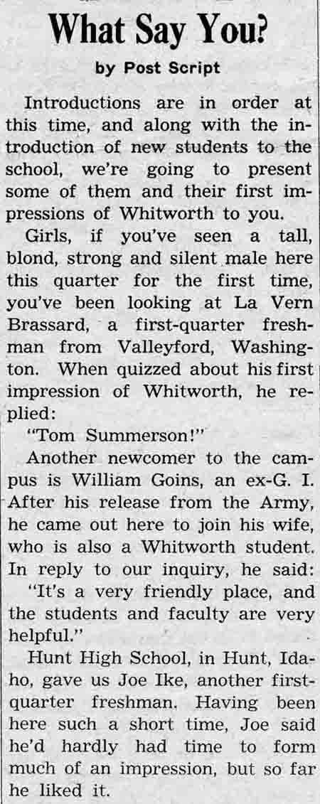 "Student Newspaper: ""What Say You?"" Whitworthian, January 19, 1945"
