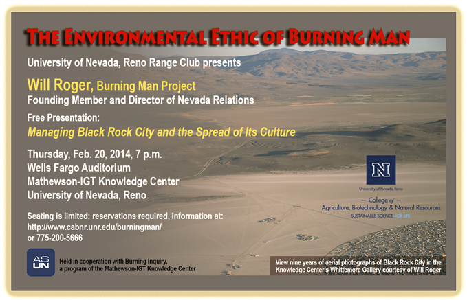 The environmental ethics of burning man, February 20, 20012 presentation promotional flyer