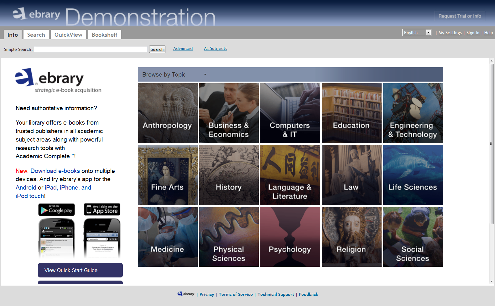 Image of: ebrary home page, search from different categories for various authoritative e-books