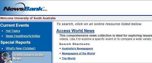 NewsBank search shortcuts