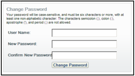 change password box screenshot