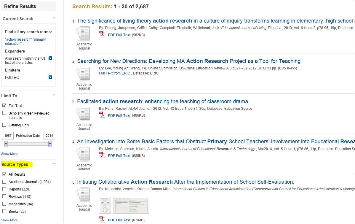 refine search to academc journals