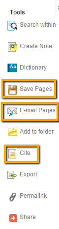 Cite the book, save or email pages