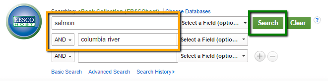 search box in EBSCO ebooks database