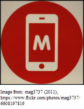 Image of cell phone screen with M for Mobile