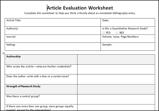 Evaluation Sheet example