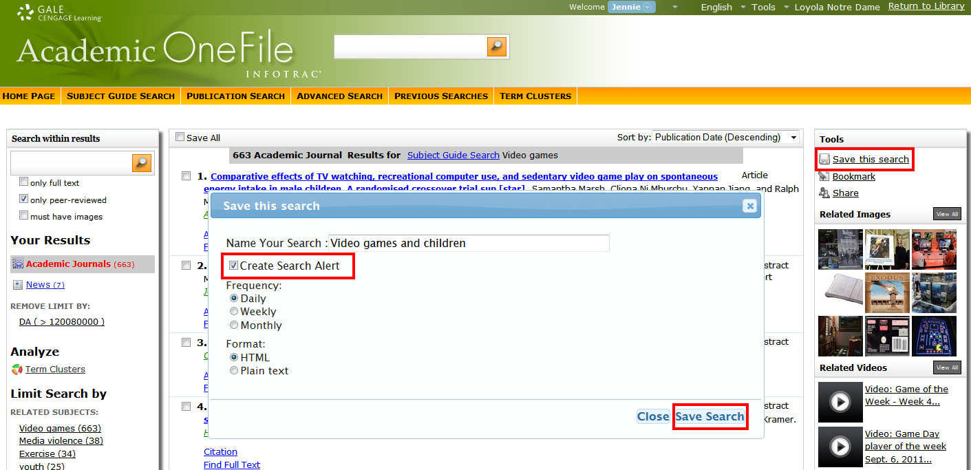 Academic OneFile search alert