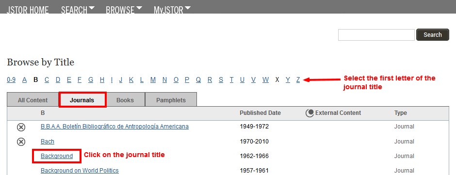 JSTOR browse journals page