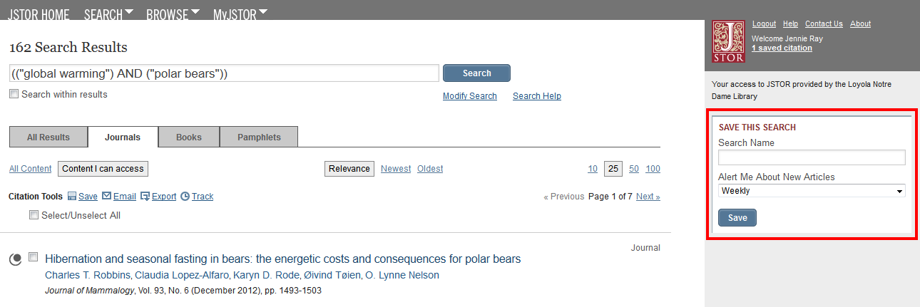 JSTOR save this search box