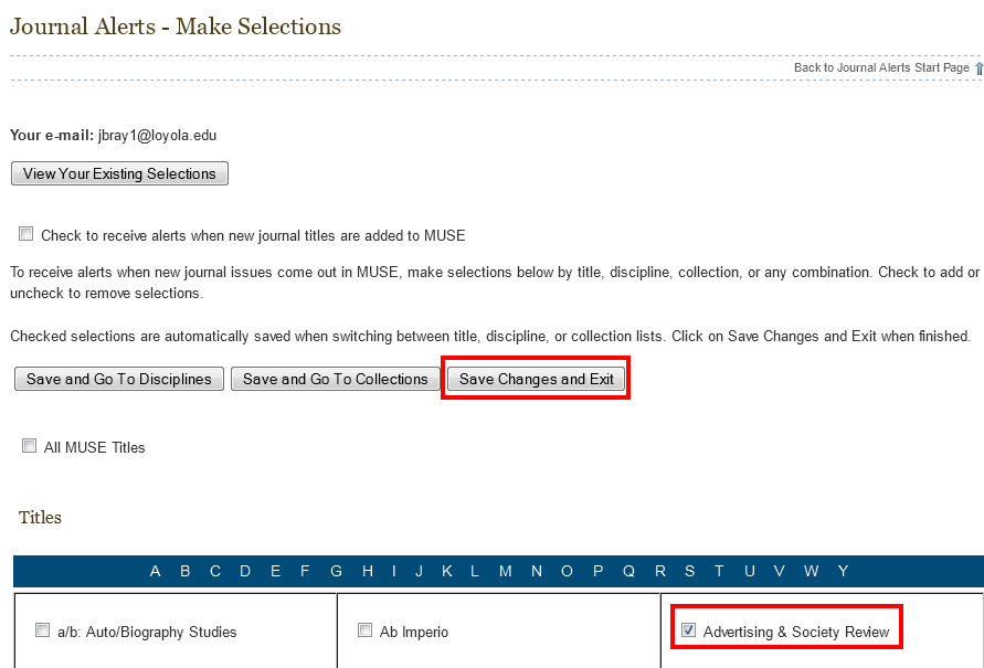 Project Muse email alert selection page