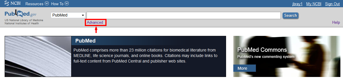Pubmed advanced search link