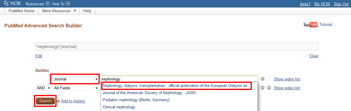 Pubmed journal search