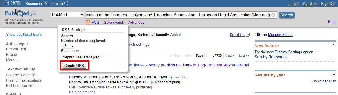 pubmed RSS feed options