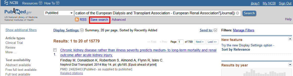 Pubmed save journal search link